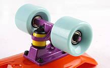 Скейтборд Penny Original FISH 22in однотонная дека (оранжевый-фиолет-мятный). Скейт пенни, фото 3