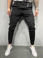 Черные брюки мужские с плотного материала зауженные к низу Турция