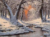 """Набор алмазной вышивки (мозаики) """"Вечерний свет над зимней рекой"""""""