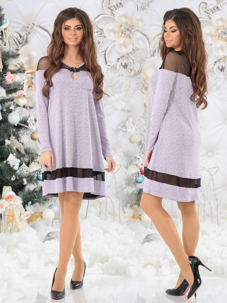 Женское платье свободного кроя со вставками сетки и декором броши  42, 44, 46