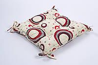 Подушка на стул Lotus 45*45 Circle с завязками красный