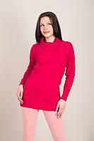 Подовжений жіночий светр з візерунками і горлом хомут Туреччина, фото 2