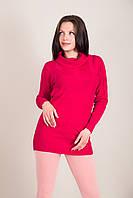 Подовжений жіночий светр з візерунками і горлом хомут Туреччина, фото 3