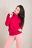 Удлиненный женский свитер с узорами и горлом хомут Турция, фото 4