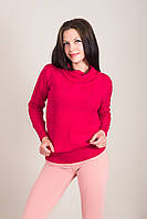 Подовжений жіночий светр з візерунками і горлом хомут Туреччина, фото 5