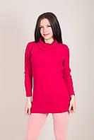 Подовжений жіночий светр з візерунками і горлом хомут Туреччина, фото 7