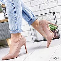Женские замшевые туфли лодочки на шпильке, цвет пудра, хит продаж, ОВ 9084, фото 1