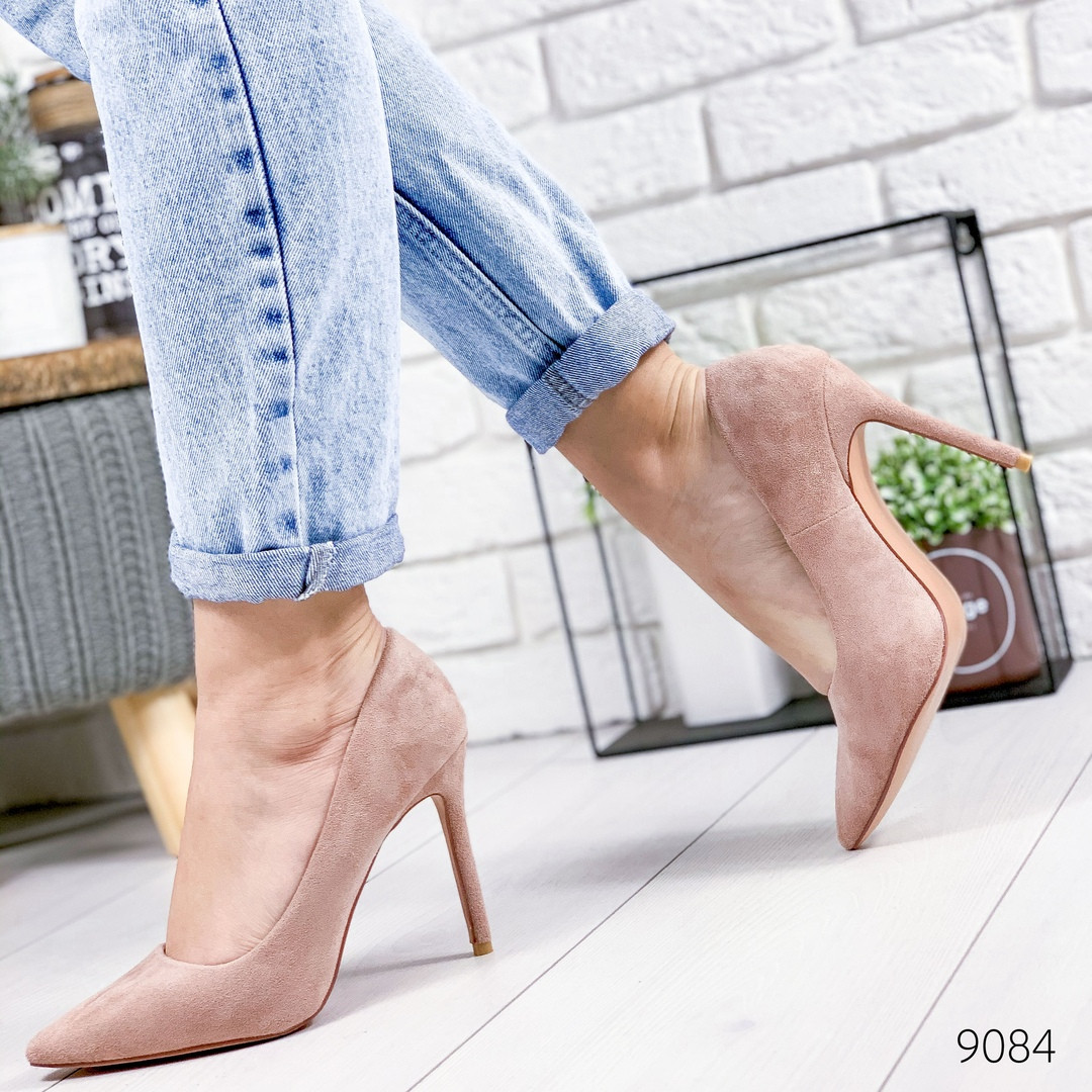 Женские замшевые туфли лодочки на шпильке, цвет пудра, хит продаж, ОВ 9084