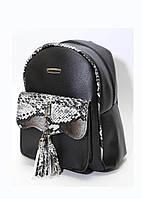 Женский рюкзак (26х23х10)   Турция  под Змеиную кожу, чёрный