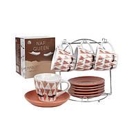 Набор чайный на стойке S&T Реснички 12 предметов 3629-08  дизайн #4