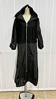 Платье женское повседневное длинное Enterne Flame черное на молнии с капюшоном Размер+ большого размера, фото 1