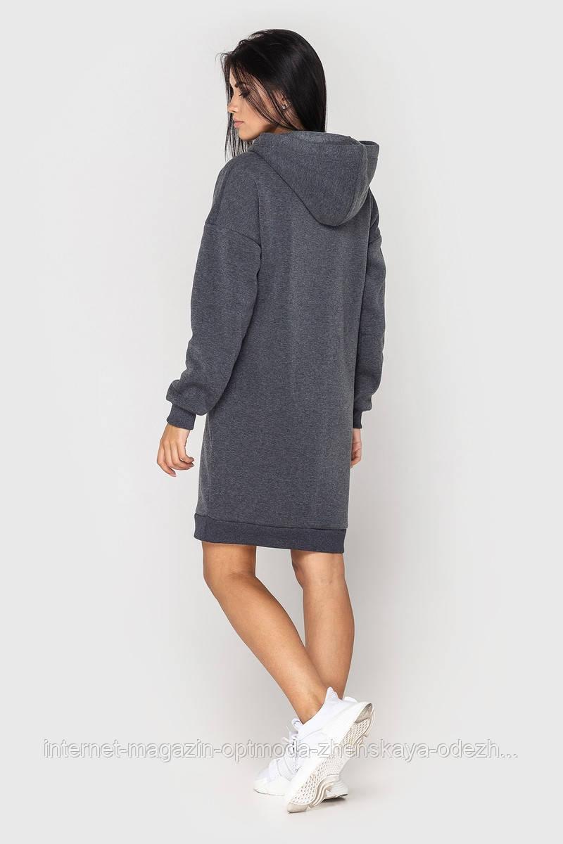 Теплое женское платье с капюшоном