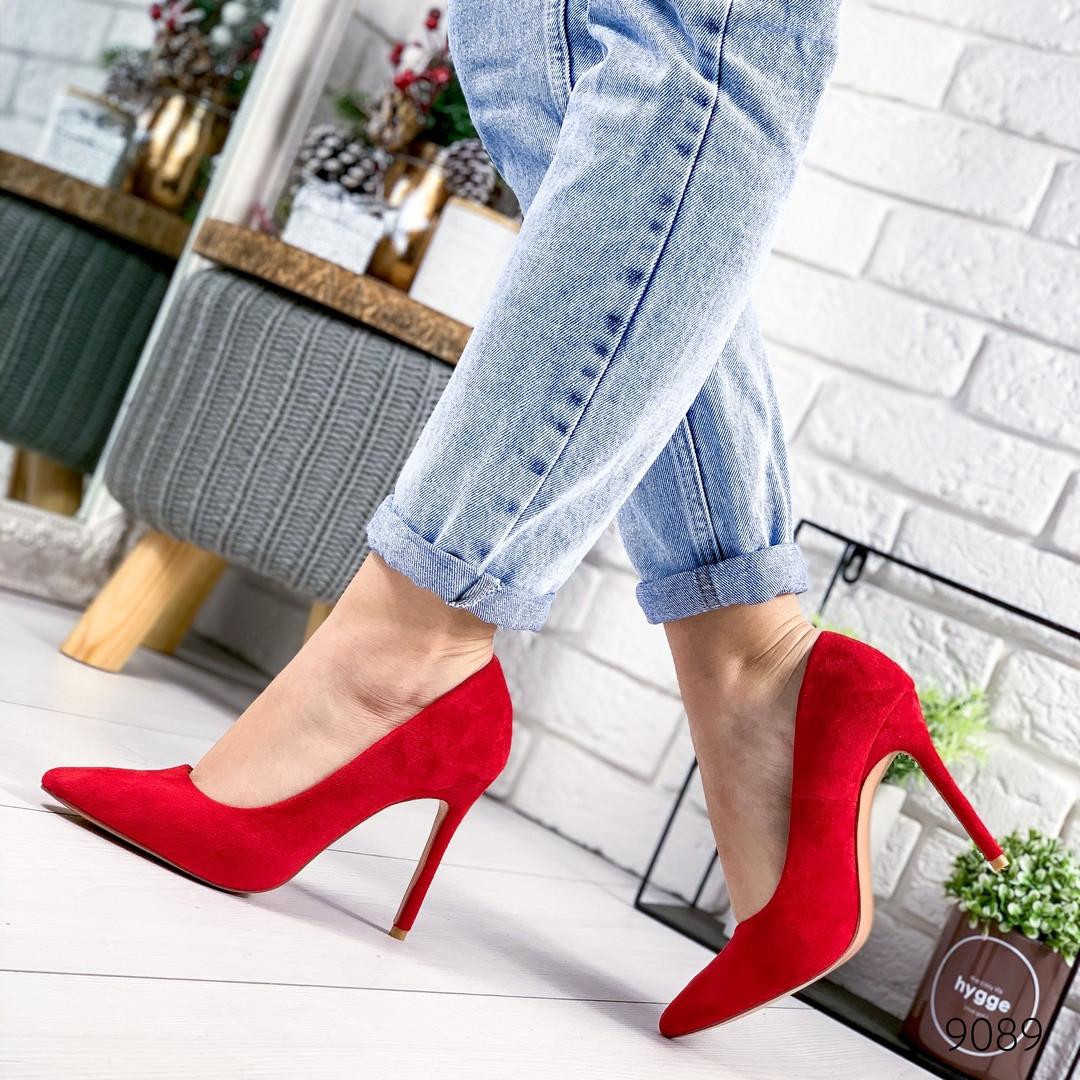 Женские красные замшевые туфли лодочки на шпильке, ОВ 9089