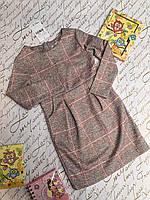 Платье для девочки Стиль клетка, 5-8 лет, розово-бежевое