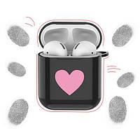 Силиконовый противоударный чехол - Airpods Apple. Черный. Сердце