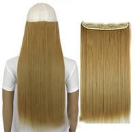 Трессы ровные блонд пшеничный волосы на клипсах 120г 24/27