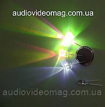Светодиод 3V 5 мм, RGB, трехцветный, переливающийся, 6 режимов свечения