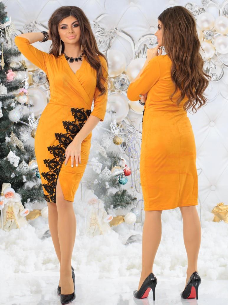 Женское замшевое платье на запах с отделкой кружева  42, 44, 46