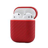 Противоударный чехол - Airpods Apple. Красный . Плетение, фото 1