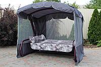 Садовые дачные качели МИРЭЛЛА с откидной спинкой и антимоскитной сеткой, подушки велюр