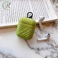 Противоударный чехол - Airpods Apple. Зеленый. Узор полосы, фото 1