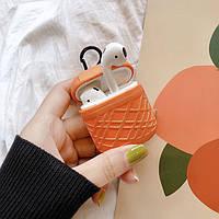 Противоударный чехол - Airpods Apple. Оранжевый. Узор полосы, фото 1