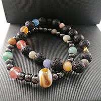 Браслет Парад Планет  Браслет из натуральных камней: лава, гематит, кварц, яшма, авантюрин, аквамарин амазонит