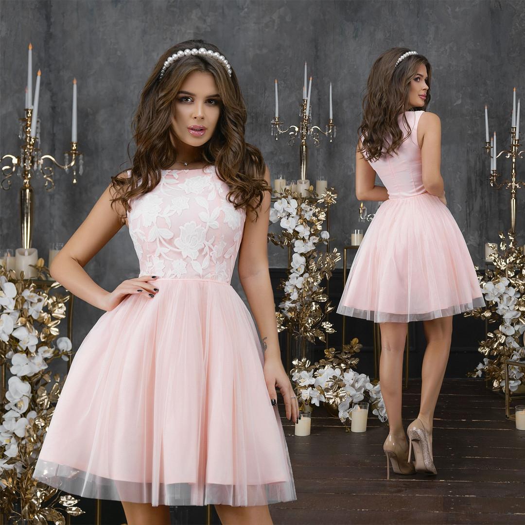 Нежное, красивое женское платье с фатиновой юбкой42-46 разм.(3расцв)