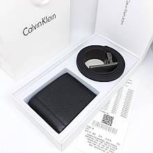 Набор мужской пояс 120 см + кошелек Кельвин кожаный черный подарок мужу парню