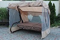 Садовые дачные качели БРАУНИ с откидной спинкой и антимоскитной сеткой, подушки рогожка