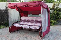 Садовые дачные качели 3-местные БОРДО с откидной спинкой и антимоскитной сеткой
