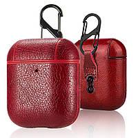 Противоударный чехол - Airpods Apple. Красный. Кожа, фото 1