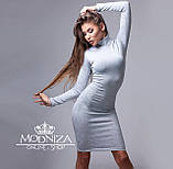 """Женское облегающее трикотажное платье-футляр, горло стойка, длинный рукав """"Николь"""" БАТАЛ, фото 2"""