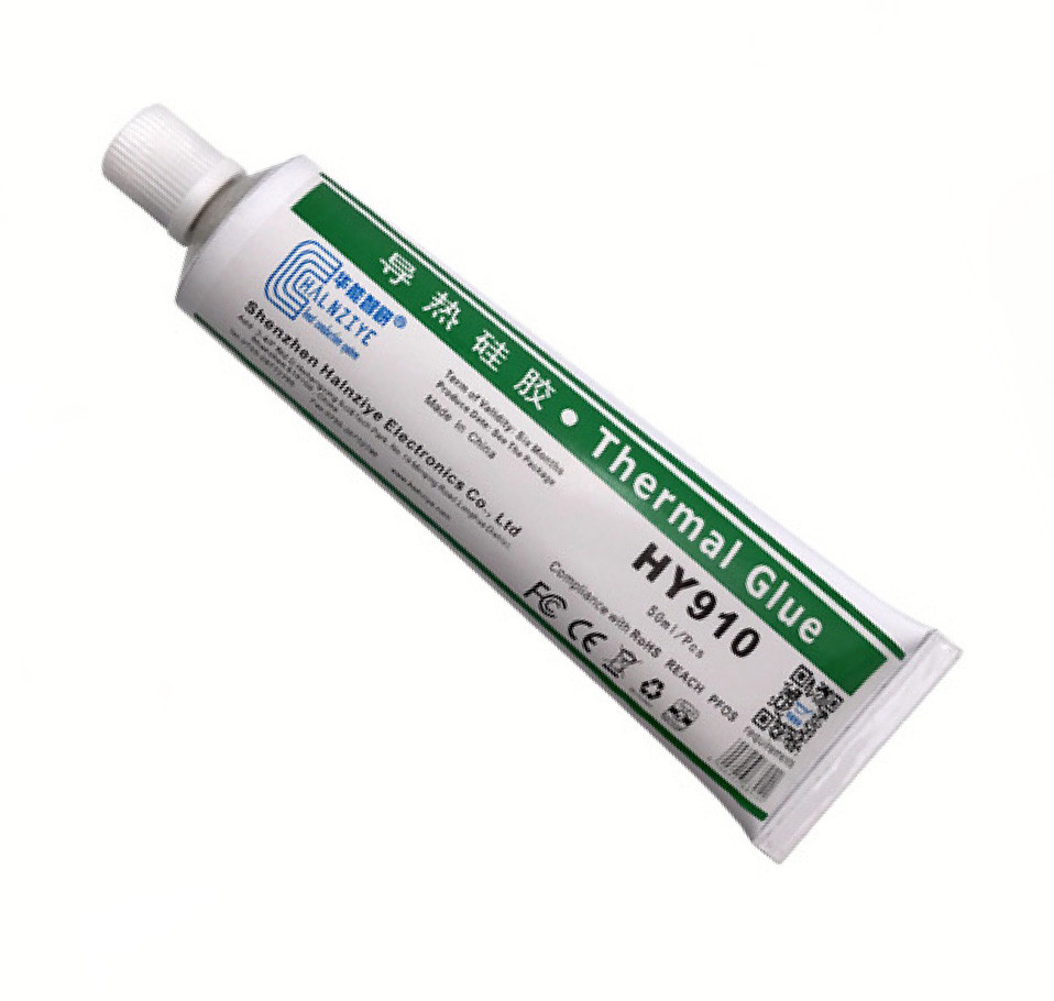 Теплопроводящий клей Halnziye HY910 80г белый 0.975W термоинтерфейс (TPkl-HY910-ST80G)