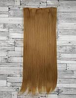 Трессы ровные блонд пшеничный волосы на клипсах 120г №27