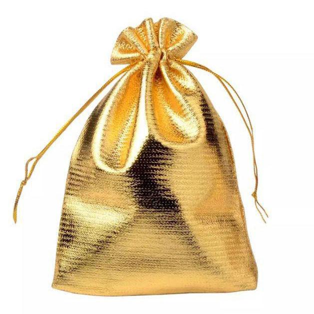 Подарочный мешочек 7 см х 9 см цвет золотой
