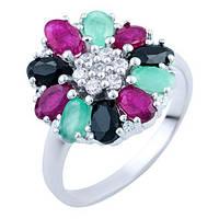 Серебряное кольцо  с натуральным сапфиром, изумрудом, рубином , фото 1