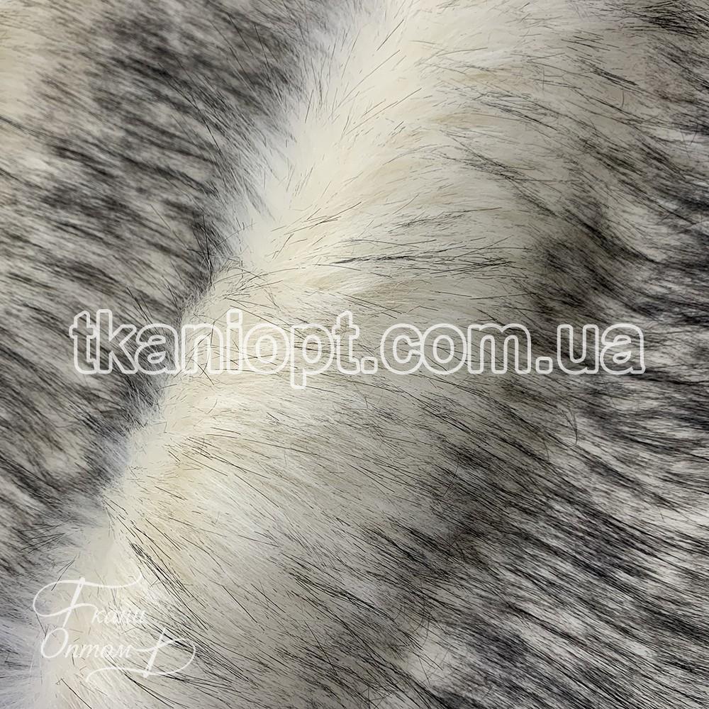 Ткань Мех искусственный песец (молочно-черный)