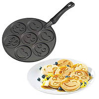 Сковорода порционная для оладий блинчиков в виде смайликов с антипригарным / тефлоновым покрытием 260 мм