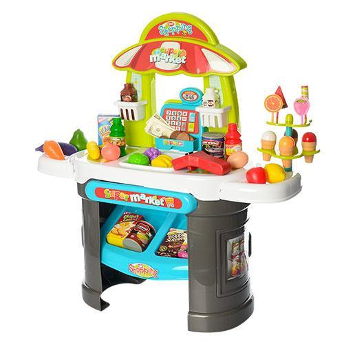 Детский игровой набор Магазин-супермаркет Xiong cheng с кассой и прилавком мороженого 61 предмет (008-911R)