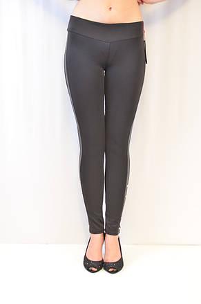 Елегантні недорогі жіночі чорного кольору з вставками з екошкіри, середня посадка, ціна від виробника, фото 2
