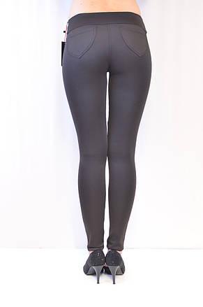 Елегантні недорогі жіночі чорного кольору з вставками з екошкіри, середня посадка, ціна від виробника, фото 3