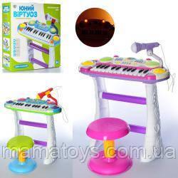 Пианино JT 7235Музыкант, на подставке, стул, микрофон Розовый