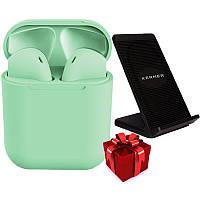 Беспроводные наушники inPods 12 green gloss + Беспроводное зарядное устройство KERNER Черный
