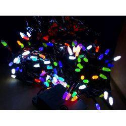 Гирлянда кристалл LED 8мм на черном проводе,разноцветная