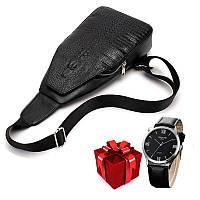 Мужская сумка слинг Alligator Black  + В ПОДАРОК Мужские наручные часы WLISTH!!!, фото 1