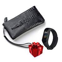 Мужской клатч кошелек портмоне Alligator Black + Фитнес браслет Band M4 в ПОДАРОК!!!
