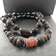 Браслет лава шунгіт Браслет з натуральних каменів Парні браслети Чоловічий браслет