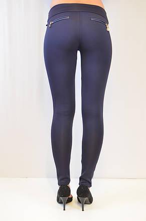 Модные синие лосины с вставками из кожзама по бокам, средняя посадка, цена от производителя, фото 3