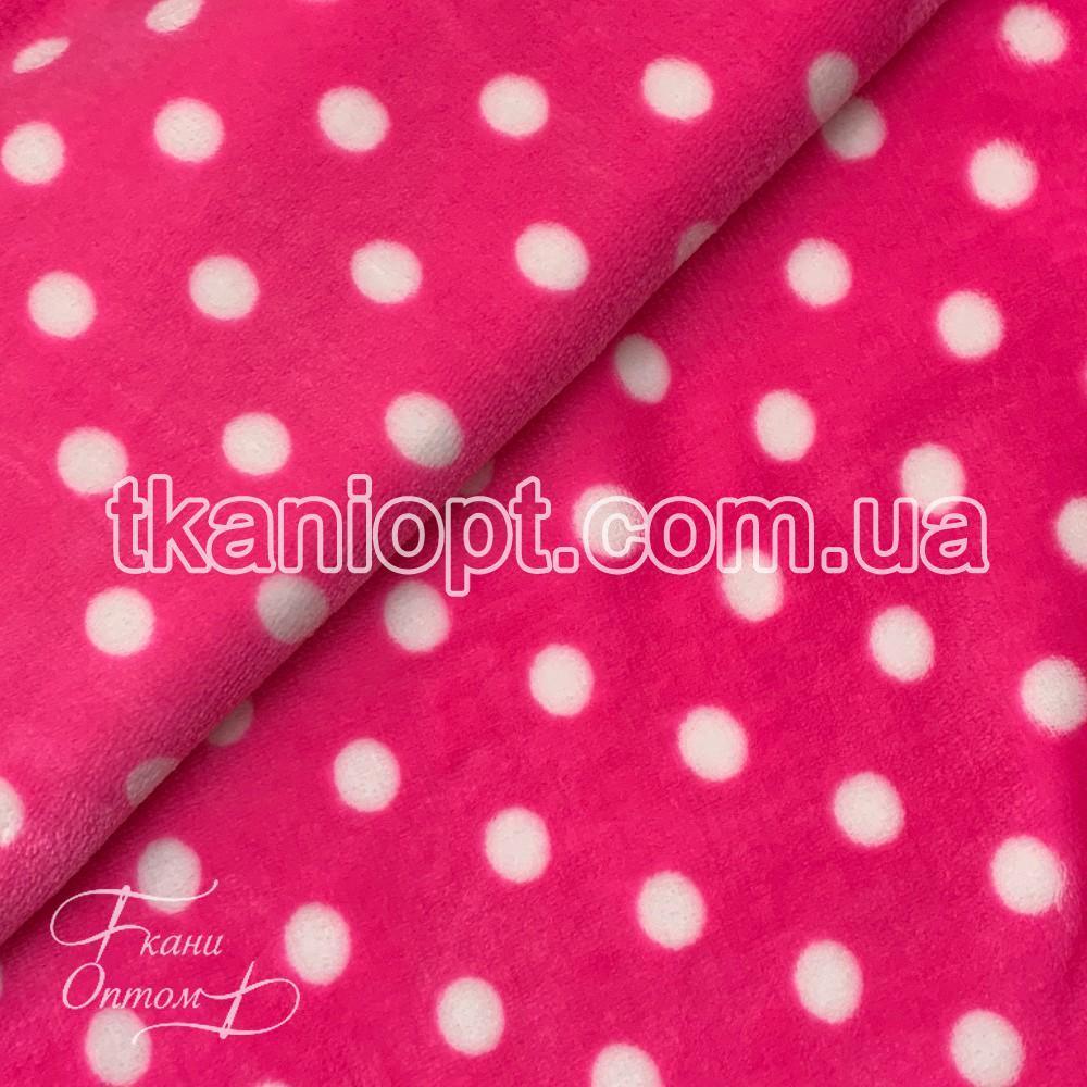 Ткань Махра (велсофт) горох неон-розовый